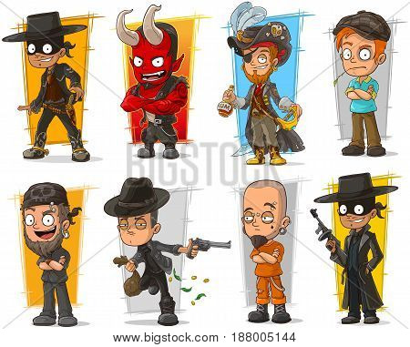 Vector set of 8 cartoon standing bad guys characters with devil and pirate on white background