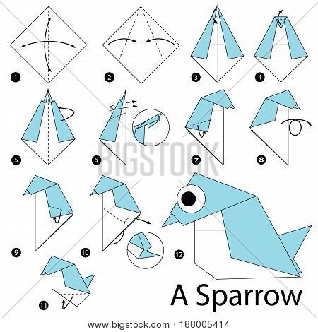 Step by step instructions how to make origami A Sparrow.