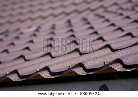 Brown roof of metal roofing background architecture