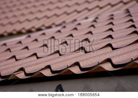 Brown roof of metal roofing Tiling Ripple