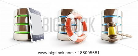 database for different activities set on a white background 3D illustration