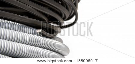 Electric wire and corrugation cable white, background