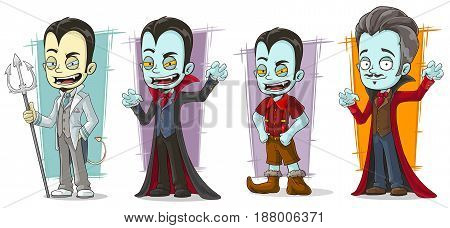 Cartoon scary pale vampire family with canines characters vector set