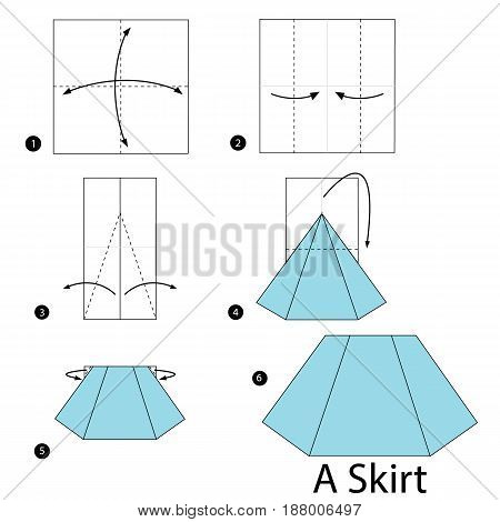 step by step instructions how to make origami A Skirt.