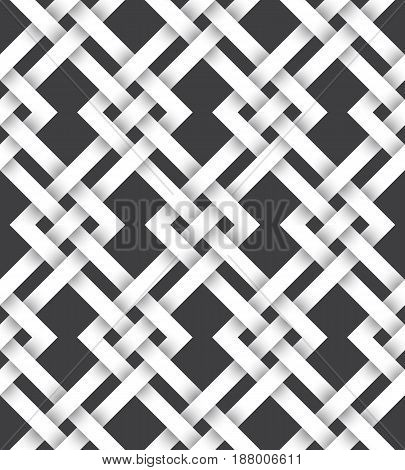 Abstract repeatable pattern background of white twisted strips. Swatch of intertwined zigzag lines. Seamless pattern with volume effect.