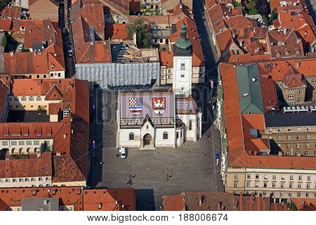 St Mark square with St Mark church parliament and government building in Zagreb Croatia