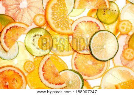 Sliced Citrus Fruits Background.