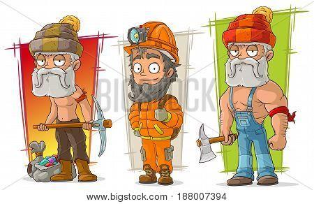 Cartoon cave digger and lumberjack character vector set