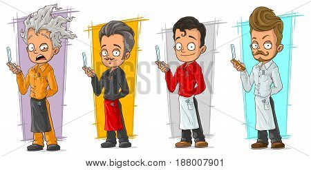 Cartoon stylish hairdresser with razor blade character vector set