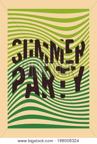 Summer Party typographic vintage poster design with misshapen lines abstract geometric background. Retro vector illustration.