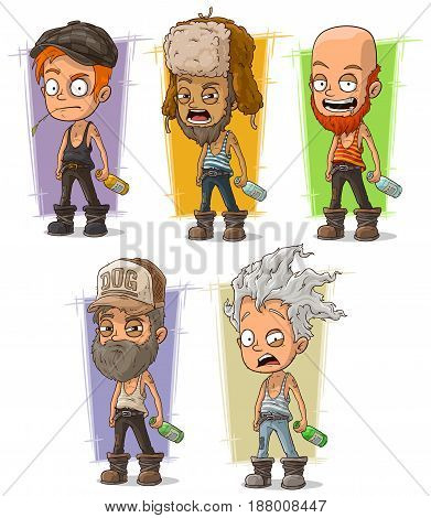 Cartoon drunk hooligans and alcoholic with bottles character vector set
