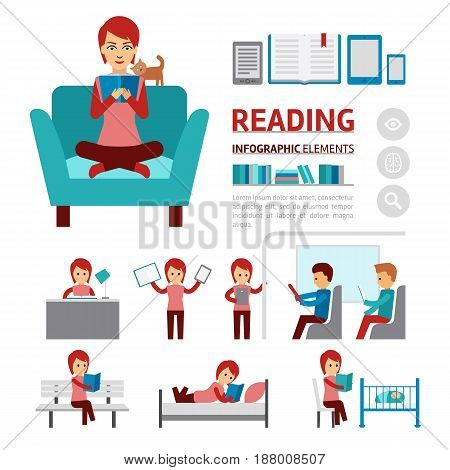 Benefits of reading books infographic elements, woman sitting in a comfortable chair and read book vector flat icons isolated on white background - stock vector