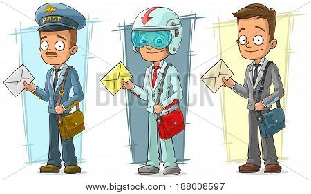 Cartoon standing postman with letter and bag character vector set