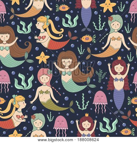Little mermaids seamless pattern. Cute background in childish style. Great for fabric and textile, wallpapers, web page backgrounds, cards and banners design. Vector illustration