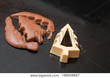 One Chocolate Christmas Tree Cookie Dough Cutout