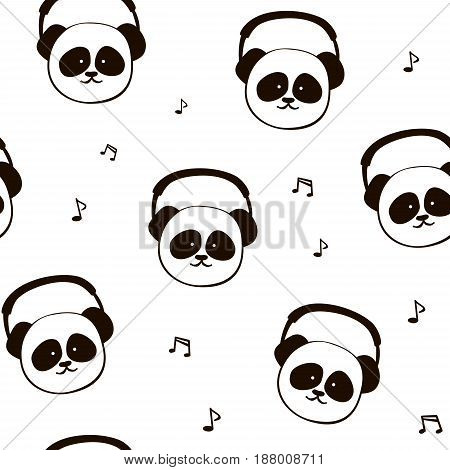 Panda, headphone. Seamless pattern. Vector cartoon illustration isolated on white. Funny, cute animal. Fabric textile, print card, pillow, t-shirt