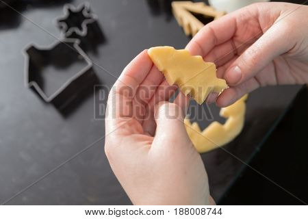 Making A Christmas Tree Cookie Dough Cutout