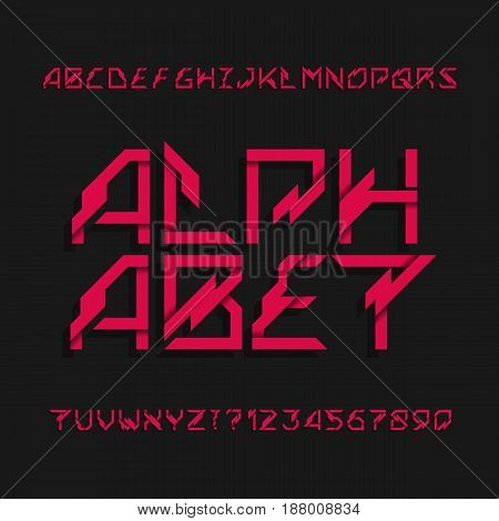 Abstract futuristic alphabet typeface. Effect type letters and numbers. Vector font. Typeset for headlines, posters, signs etc.