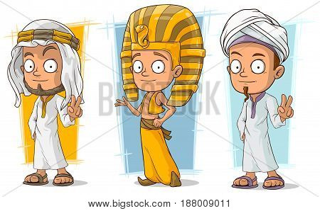 Cartoon cool arabian and egyptian young boy character vector set