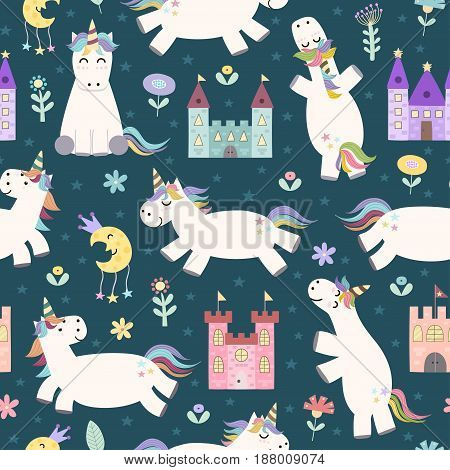 Magic seamless pattern with cute little unicorn, castles, stars and flowers. Vector texture in childish style great for fabric and textile, wallpapers, web page backgrounds, cards and banners design