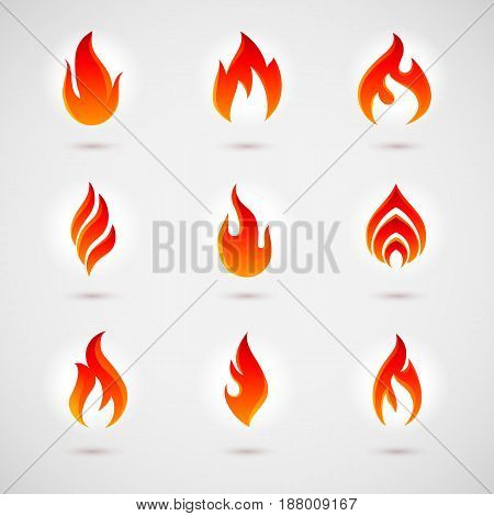 Fire Icons Set for Design. Colorful Flames in the Flat Style. Simple Icons Bonfire