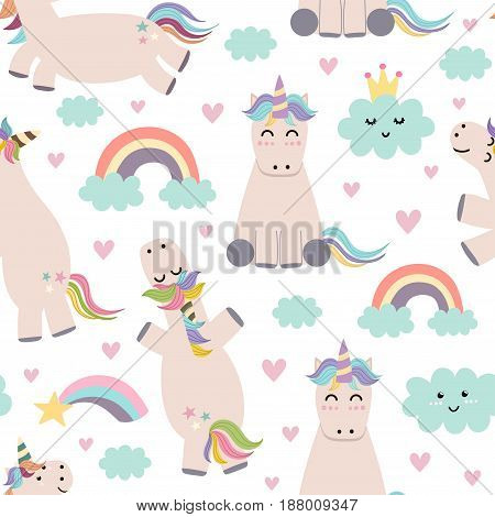 Adorable unicorn, rainbows and clouds seamless pattern. Cute background for baby and children design. Vector illustration