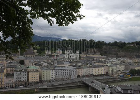 City on the mountain austria salzburg summer
