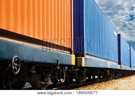 container shipping by train import export goods..