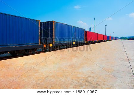 container with train import export to customer for opportunity of business .