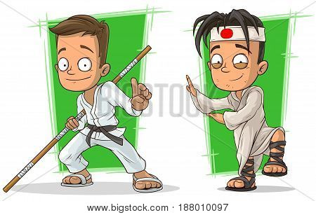 Cartoon kung fu karate boys in white kimono with stick character vector set