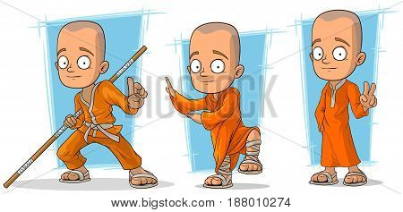 Cartoon asian buddhist monk in orange robe character vector set