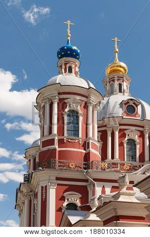 Clement Church in Moscow. The church of Saint Clement of Rome in Moscow with lantern on the foreground.