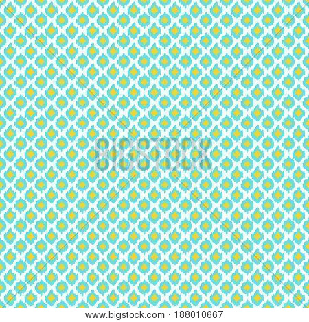 Oriental seamless pattern in white yellow and blue colors. Ikat ogee ornament. Vector eastern background.