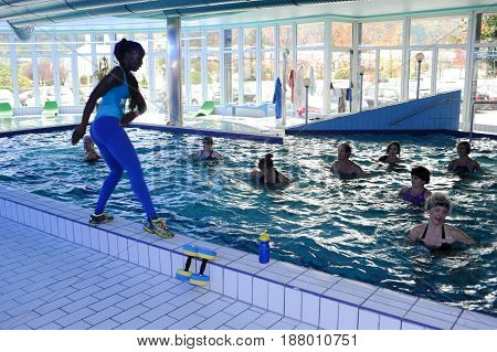 People During Water Zumba Training Fitness At A Gym