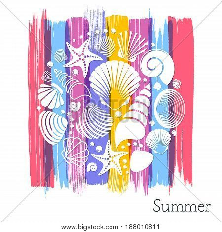 Creative vintage summer card with white sea shells