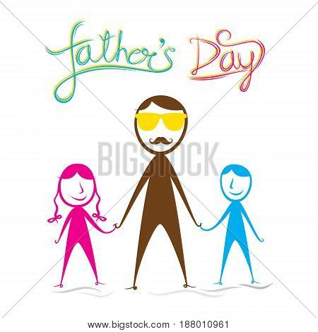 creative fathers day design like cartoon style