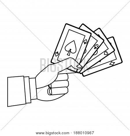 hand holding poker cards gambler casino outline vector illustration