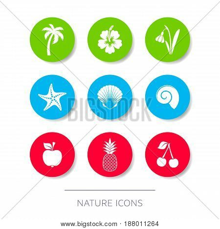 White minimalist silhouette nature icons collection round buttons