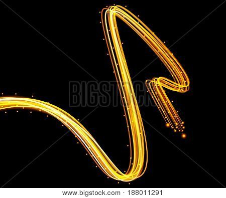 Beautiful vector light effect. Golden lights with flash. Vector black background with the effect of neon and glow. Flying design elements.
