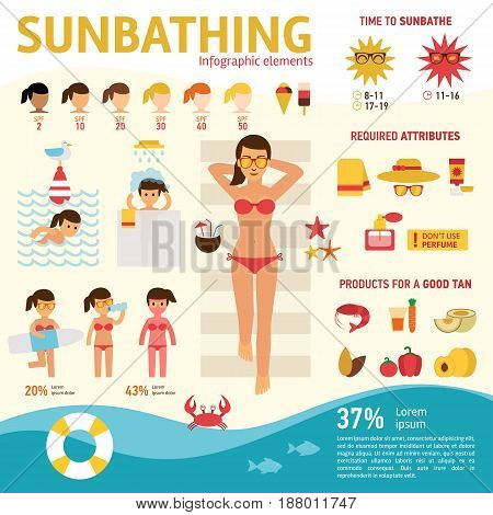 The girl sunbathes on the beach and tanning summer, wholesome food at sunburn, infographics elements. Woman resting on the sea vector flat design stock illustration