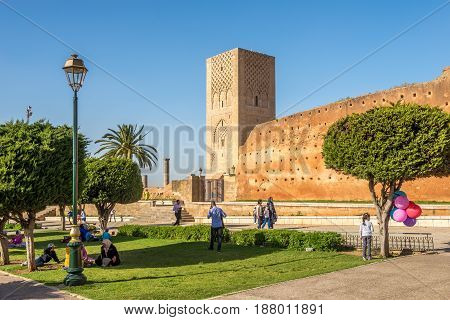 RABAT,MOROCCO - APRIL 7,2017 - In the park near Hassan Tower in Rabat. Rabat is the capital city of Morocco and its second largest city .