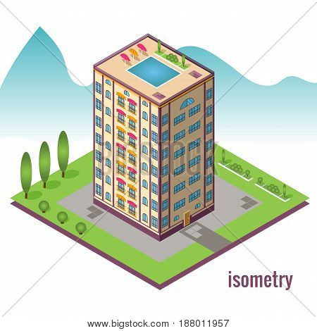 Hotel with pool on the roof against the mountain. Isometric vector illustration