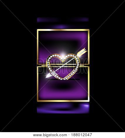 dark background, purple gift box and the jewelry heart with arrow