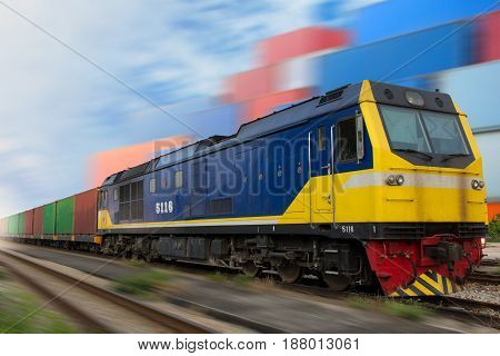 train with international container import export goods to custom.