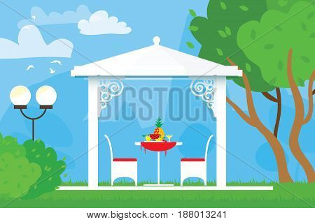 Summer picnic on the garden. Outdoor recreation. Table with chairs, arbor and pineapple. Dinner with fruit. Vector illustration in flat style.