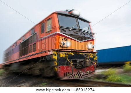 train with container shipping goods movement .