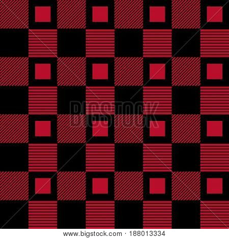 Checkered fabric background. Black and red seamless pattern. Vector illustration