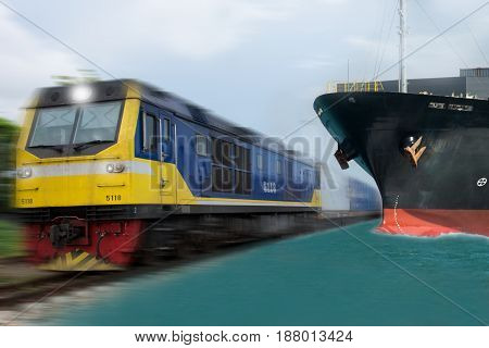 train & ship with container import export goods.