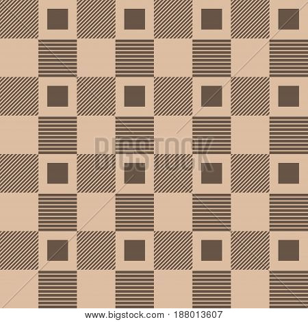 Checkered fabric background. Brown and beige seamless pattern. Vector illustration