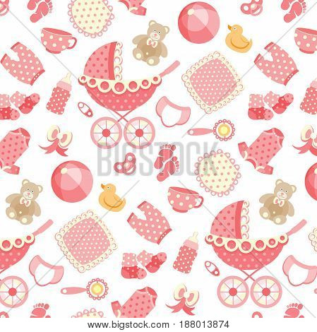 Vector seamless pattern with baby objects. Newborn clothes and accessories seamless background in trendy doodle style.